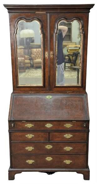 Queen Anne Style Burlwood Secretary Desk in Two Parts,