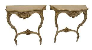 Pair of Louis XV Style Console Tables, height 38