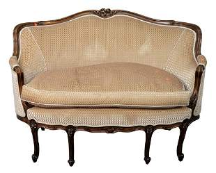 Victorian Walnut Settee, having carved frame and new