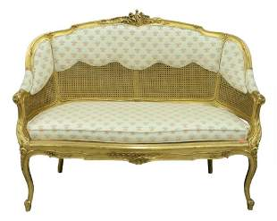 Louis XV Style Giltwood Settee, having caned back and