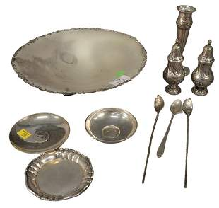 Silver Lot, to include large shallow bowl, pepper