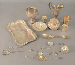 Sterling Silver Lot, to include powder, tray, spoons,