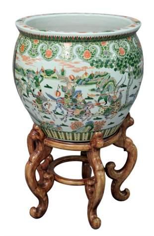 Chinese Porcelain Famille Verte Fish Bowl Planter, on