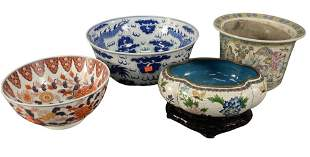 Four Piece Lot, to include a large blue and white bowl