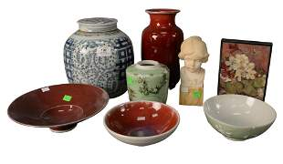 Eight Piece Lot, to include three bowls, a red vase, a
