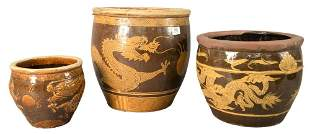 Three Piece Chinese Group of Brown and Yellow Glazed