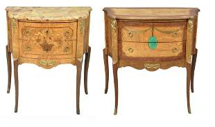 Two Louis XV Style Commodes, one having marble top,