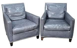 Pair of Lillian August Culture Leather Club Chairs, in