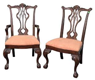 Set of Eight Mahogany Chippendale Style Dining Chairs,