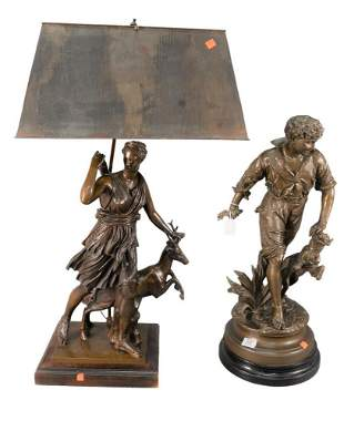 Two Piece Lot, to include bronze two light table lamp