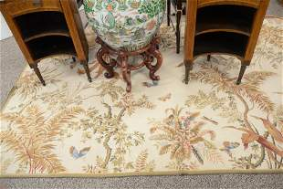 """Hooked Rug, having floral and butterfly designs, 5' 10"""""""