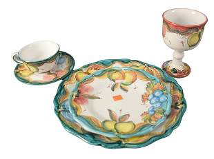 46 Piece Set of Italian Pottery to include, 8 goblets,