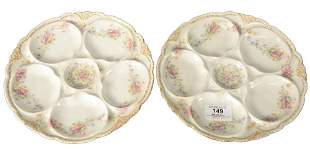 Six Theodore Haviland Limoges Baltimore Oyster Plates,