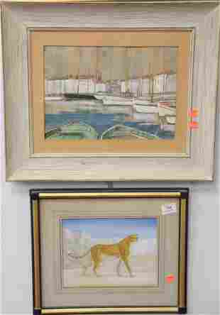 Two Piece Lot, to include a boatyard scene, watercolor