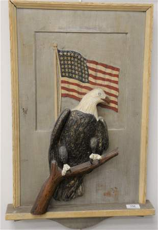 American Folk Art Wall Carving, having eagle form and