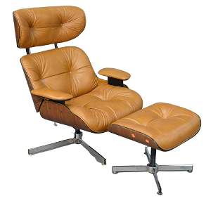 Eames Style Brown Leather Lounge Chair, along with