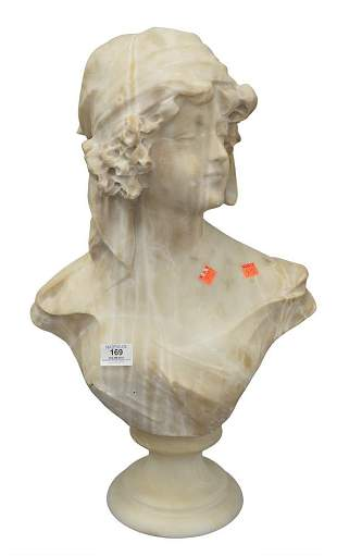 Carved Marble Bust of a Woman, on round base, height 24