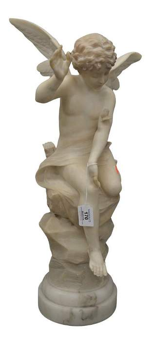 Alabaster Sculpture of an Angel, having butterfly on