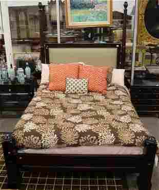 Queen Size Mahogany Bed, having upholstered headboard,