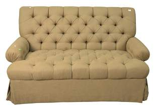 Custom Loveseat, having tufted seat and back in beige