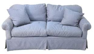 Custom Two Cushion Loveseat, in blue upholstery, height