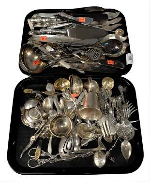 Two Tray Lots of Sterling Silver and Silver Plate, to