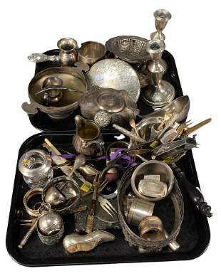 Two Tray Lots of Sterling Silver and Silver Plate,