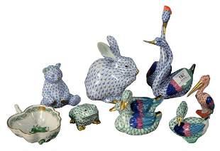 Eight Piece Herend Porcelain Lot, having fishnet bird