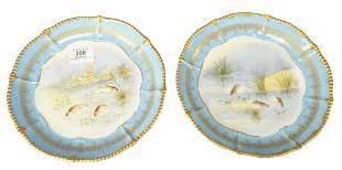Set of Ten Limoge Fish Plates, marked Elite Works,