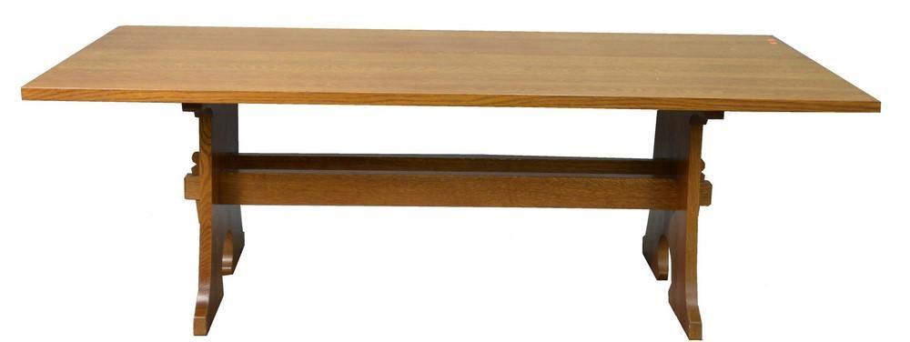 Stickley Oak Trestle Base Dining Table, marked