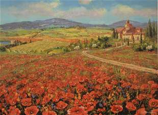 Pair of S.Sam Park (Korean, b. 1949), Tuscan poppies,