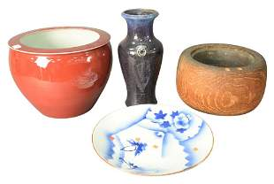 Four Piece Group of Asian items, to include a carved