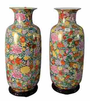 Pair of Tall Chinese Porcelain Vases, having paint and