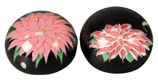 Two Baccarat Glass Paperweights, both having pink and
