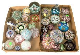 Thirty-Two Millefiori Glass Paperweights, to include