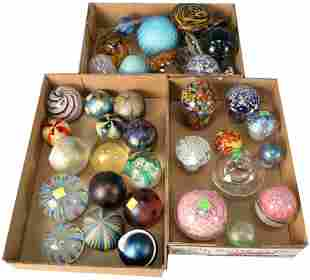 Group of Thirty-seven Assorted Glass Paperweights, to