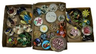 Three Box Lots of Glass Paperweights, to include three