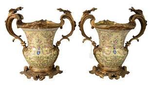 Pair of Chinese Urns, having French ormolu bronze