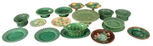 Large Lot of Majolica, to include a pair of Wedgwood