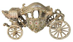 German porcelain carriage having blue floral and gilt