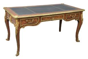 Louis XV Style Inlaid Desk, having tooled leather top