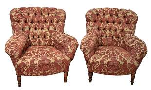 Pair of Victorian Style Arm Chairs, with custom tufted
