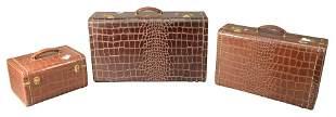 Set of Three Alligator Skin Travel Suitcases, height 15