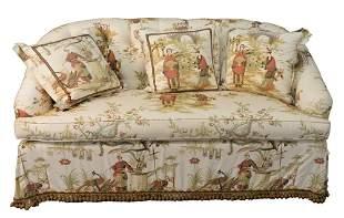 Custom Loveseat, having Chinese motif upholstery along
