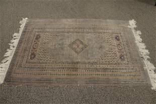 "Caucasian Silk/Cotton Blend Throw Rug, 4' x 5' 10""."