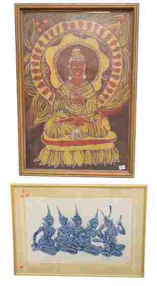Three Piece lot of Asian Art, to include two prints on