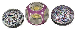 Three Baccarat Millefiori Glass Paperweights, to