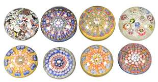 Eight Perthshire Millefiori Glass Paperweights, two