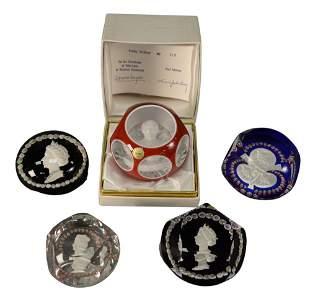 Five Saint Louis Glass Paperweights, each having