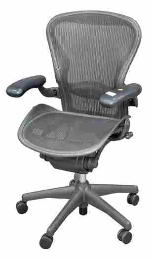 Herman Miller Aeron Office Chair, marked to the